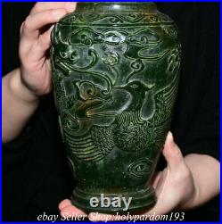 11.6 Old Chinese Green Jade Carved Fengshui Dragon Phoenix Bottle Vase