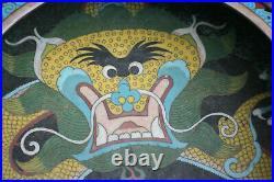 11.75 Large Antique Chinese Bronze Cloisonne Dragon Brush Wash Pot Marks