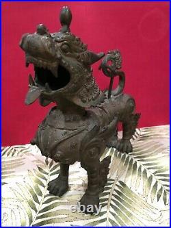 11 Lg BRONZE Chinese FOO DOG Guardian LION DRAGON Statue Sculpture METALWARE