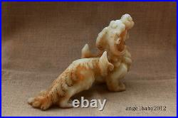 12 Chinese antique handcarved old white jade dragon kylin statue