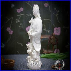 12Chinese Dehua Porcelain Dripping Water Kwan-yin Guanyin Tongzi Dragon Statue