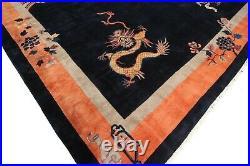 12x12 Antique Art Deco Dragon rug Extraordinaire Walter Nichols Blue Square 1920