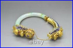 14K Gold Dragon Jade Bangle Bracelet with High Quality Jade and Ruby