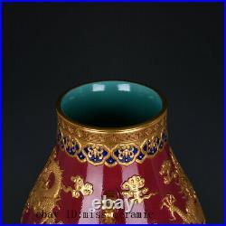 15 Chinese antique Porcelain Qing qianlong mark red Five dragon double ear vase