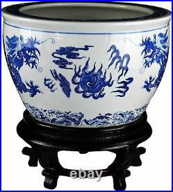 16 Porcelain Blue and White Fishbowl, Fish Bowl Two Dragons Playing with Super