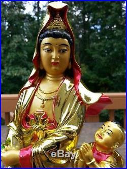 """16/""""5 H Chinese Kwan-yin Guanyin Stand on Dragon Fish and Tongzi Boy Statue"""