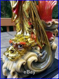 165 H Chinese Kwan-yin Guanyin Stand on Dragon Fish and Tongzi Boy Statue