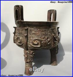 16Old Chinese Bronze 3 Leg Oxen Dragon Beast Handle Ding Incense Burner Censer
