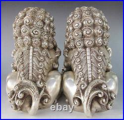 16cm / 6.3 tibet Silver Bronze Fu Foo Dog Guardian lion Statues Pair Statue