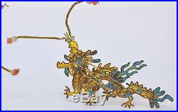 1800s ANTIQUE CHINESE DRAGON PAIR KINGFISHER FEATHER HAIR ORNAMENTS
