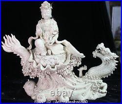 18China Dehua Porcelain Seat Lotus Kwan-yin Guan Yin Goddess Ride Dragon Statue