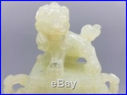 18th/19th C. Chinese Celadon Jade Dragon Figural Ring Handle Foo Dog Lion Vase