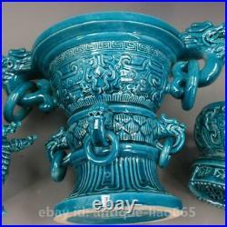 19 Chinese Porcelain Blue Glaze Dragon Head Pagoda Tower Incense Burner Censer