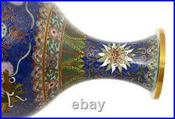 1930's Chinese Gilt Cloisonne Enamel Vase Dragon Mk Lao Tian Li LaoTianLi