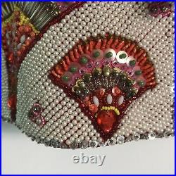 1970s Beaded & Rhinestone Chinese Dragon & Phoenix Red Silk Jacket1000s Beads
