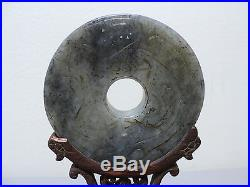 19TH C. ANTIQUE CHINESE HAND CARVED JADE BI DISC / AMULET ON STAND with DRAGON