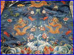 19th Century ANTIQUE CHINESE CHINA EMBROIDERY SILK ROBE BLUE DRAGON