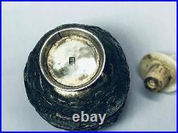 19th Chinese Qing Silver Enamel Dragon Snuff Bottle Fine Detail 2.6/8