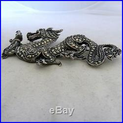 2.75 Vintage Chinese Sterling Silver & Marcasite DRAGON Brooch with Ruby (23.1g)