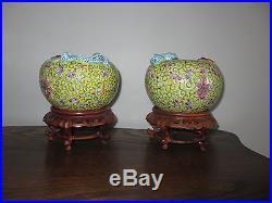 2 Matching Antique Vintage Chinese Porcelain Vases Bowls Planters Dragon & Bats