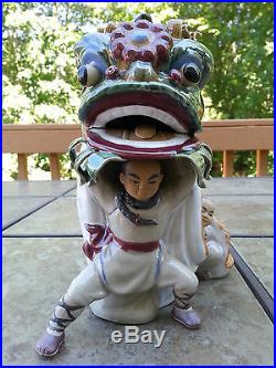 2 pc Masterpiece Ancient Chinese Lion Dragon Ceramic Doll Statue 11 H X 6 W