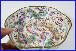 20 CM 19th C. ANTIQUE CHINESE CANTON ENAMEL PAINTED PLATE DISH 5 COLAWED DRAGON