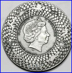 2018 2 Oz Silver $2 Niue CHINESE DRAGON Ultra High Relief Antique Finish Coin