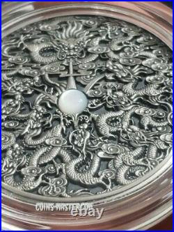 2020 2 Oz Silver NINE DRAGONS Chinese Legend Antique Coin, Mother Of Pearl Insert