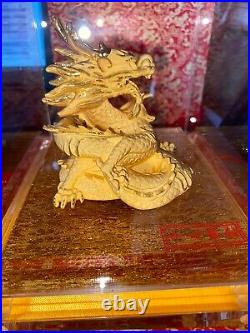 24k Gold Chinese Zodiac Dragon Statue in Case Red Box 1138 Grams