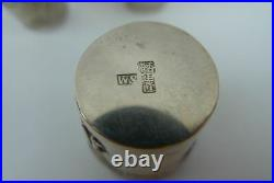 3 Antique 1890 Woshing Chinese export sterling silver dragon beaker cup Shanghai