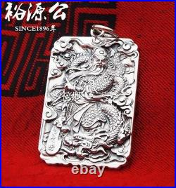 32g pure silver 100% 999 silver handcraft carved dragon Guan Gong pendant amulet