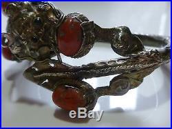 #36 Antique Vintage Oriental Chinese Sterling Silver Coral Dragon Bracelet