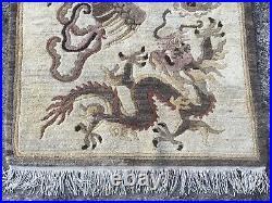 3x5 art deco chinise oriental wool rug dragon bird tribe rug
