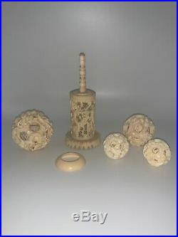 4 Chinese Bovine Bone Carved Puzzles Balls With Dragon Stand Heavily Detailed