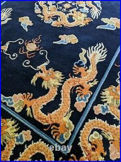 4x6 1950's CHINESE ART DECO DRAGON RUG Handmade Wool