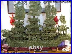 51Chinese Regius Palace Green Stone Jade exquisite Carved sailboat Dragon Boat