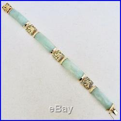 6.75 Chinese 14K Yellow Gold Bracelet with Dragons & Green Jadeite Jade (16g)