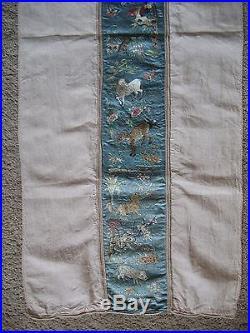 6' Antique Chinese Zodiac Embroidered Silk Kimono/Robe Sleeve Sheep+Dragon+Dog++