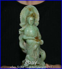 8.8 Old Chinese Natural Green Jade Carving Kwan-yin Guan Yin Goddess Dragon