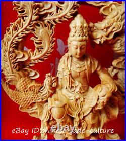 8 China Natural Boxwood Hand Carving Dragon Free Kwan Yin Goddess Buddha Statue