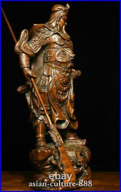 8 Chinese Folk Boxwood wood Carving Dragon Guan Gong Yu warrior figure Statue