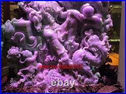 80 Inch Rare 100% Purple Natural Emerald Jadeite Jade Dragon Tongzi Boy Kwan-Yin