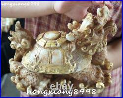 9Marked China Old Jade Gilt Dragon Tortoise Turtle Animal Eight Diagrams Statue