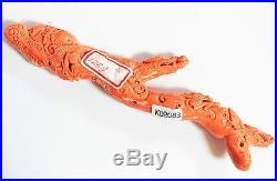 A Japanese/Chinese Antique Coral Carved Dragons