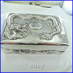 A Large, Antique Sterling Silver, Chinese Hinged Trinket Box