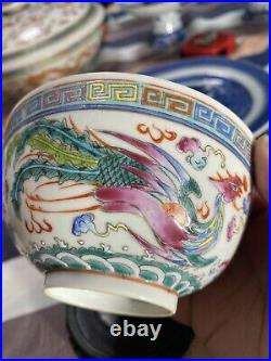 A Pair Of Antique Chinese Famille Rose Dragon & Pheonix Bowls