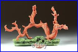 A Rare Chinese Antique Carved Coral Dragon and Kwan Yin with Carved Base
