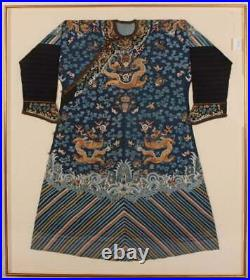 A Rare Qing Dynasty Embroidered Silk Dragon Robe, Framed. Early 19th C