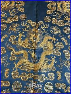 A Rare and Important Qing Dynasty Embroidered Silk Dragon Robe Unstitch 54X 56