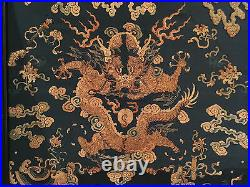 A Rare and Large Qing Dynasty Embroidered Silk Dragon Three-panel Room Screen